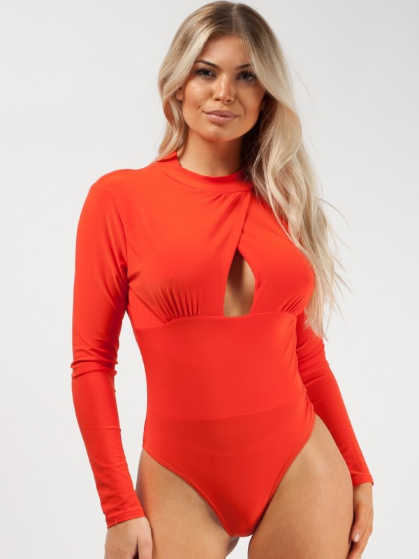 Cut Out Wrap Front Bodysuit