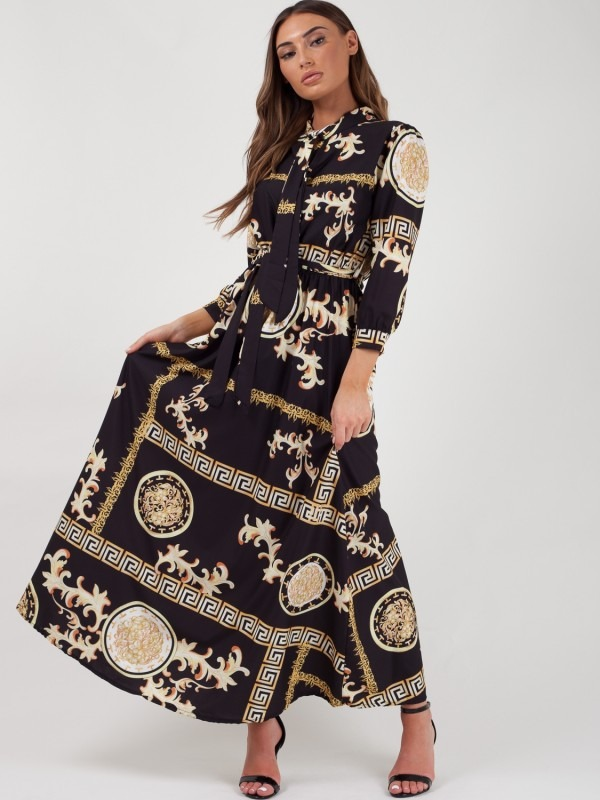 Baroque Print Maxi Dress