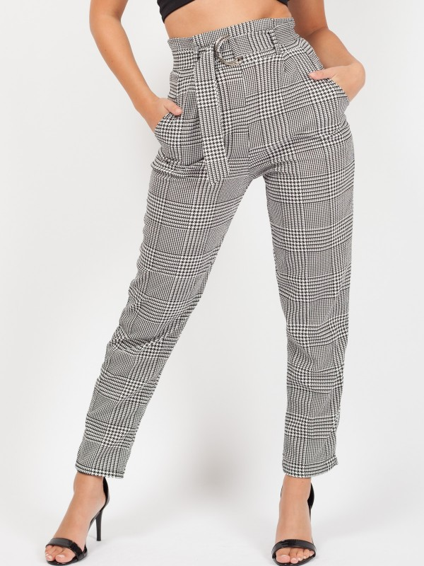 Gingham Check Belted Buckle Trousers