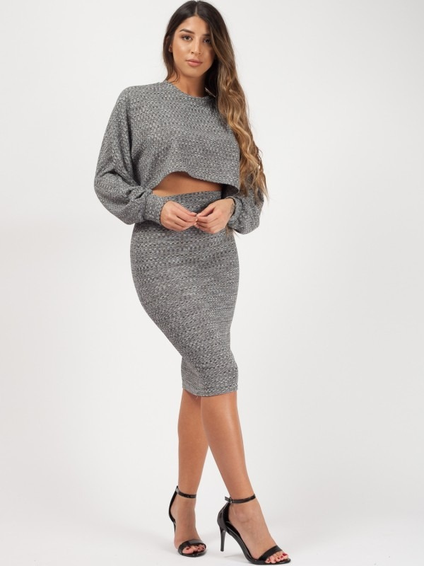 Cropped Batwing Top & Skirt Co-ord