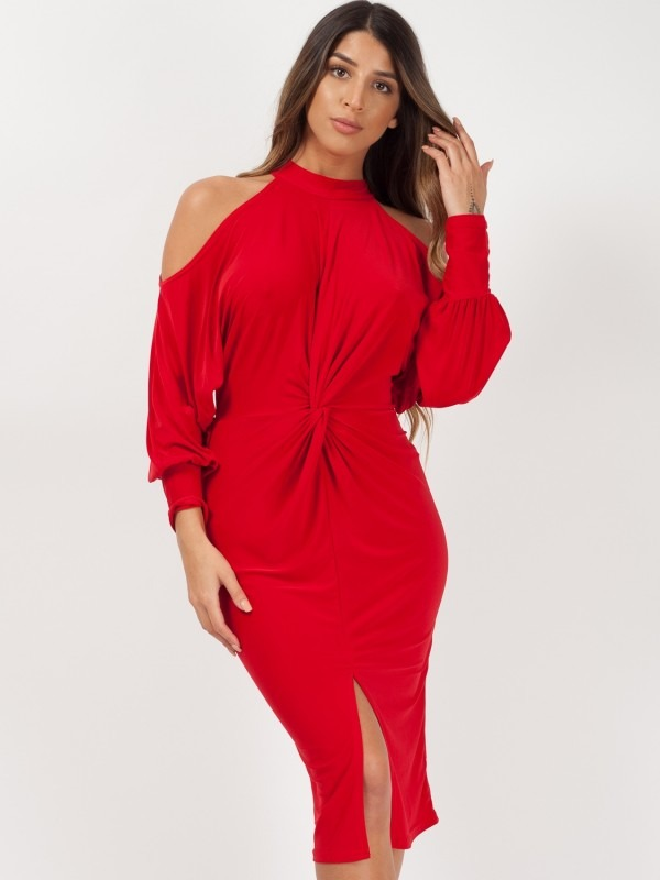 Cold Shoulder Twist Front Dress