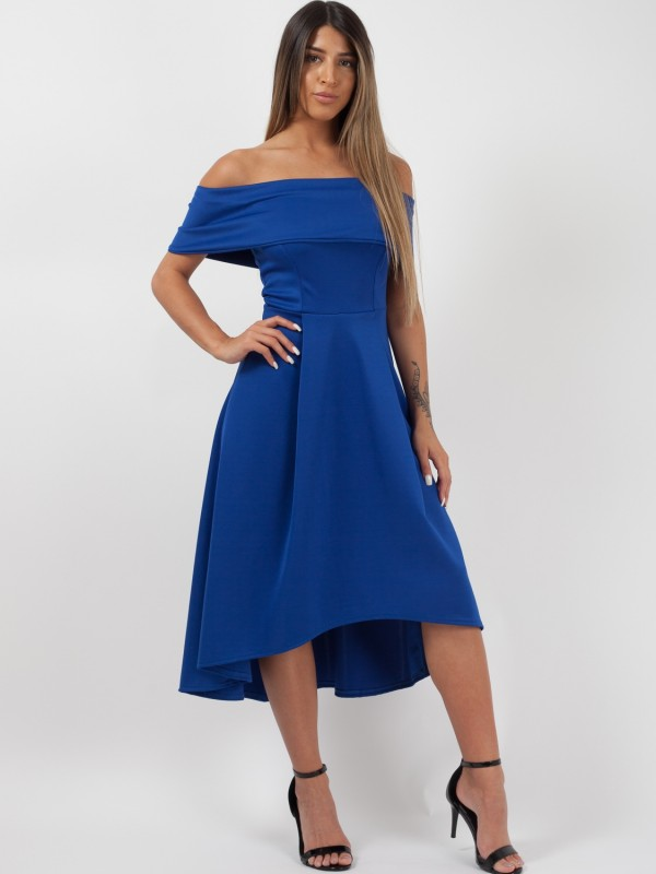 Dip Hem Pleated Bardot Dress