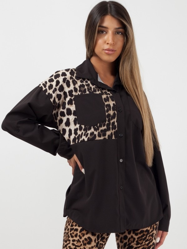 Leopard Print Patch Shirt Blouse