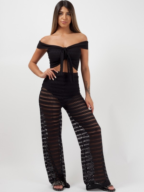 Crochet Bardot Crop Top & Trouser Co-ord