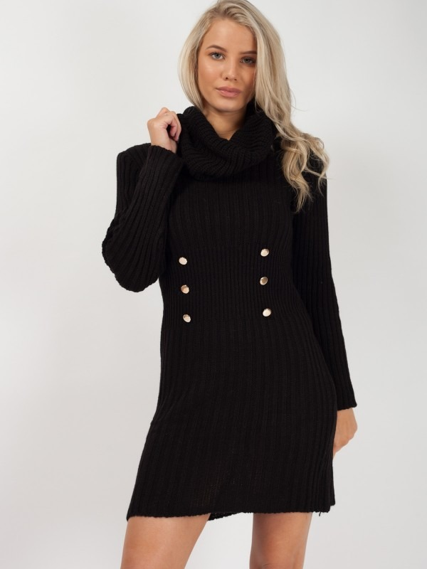 Roll Neck Button Front Knitted Dress
