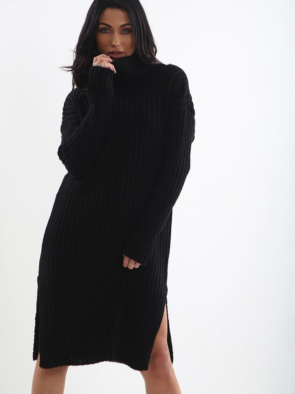 Roll Neck Knitted Midi Dress