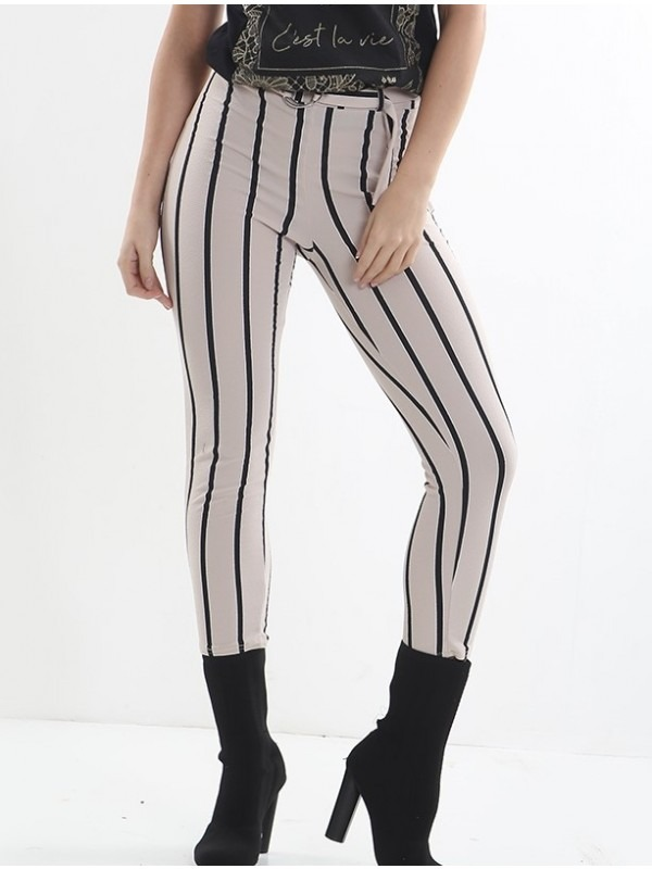 Striped D-Ring Belted Trousers