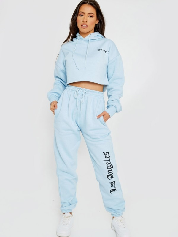 Los Angeles Cropped Hoodie & Jogger Fleece Co-ord