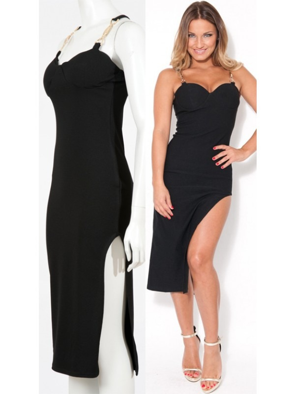 Celebrity Sam Inspired Chain Strap Side Slit Midi Dress