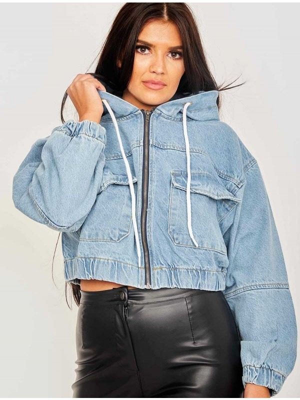 Cropped Denim Jacket With Hood