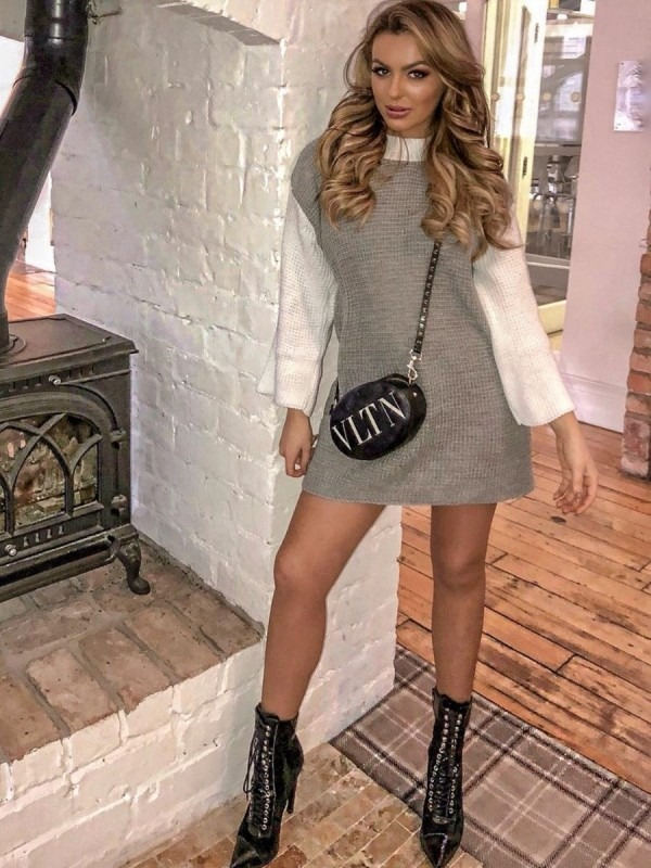 Rosie Two Tone Knitted Jumper Dress