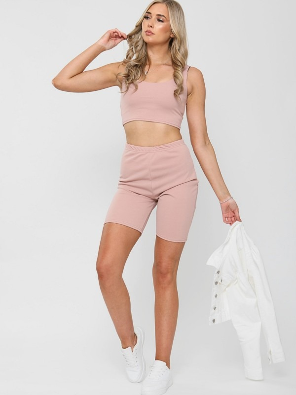 Crop Top & Cycling Shorts Co-ord