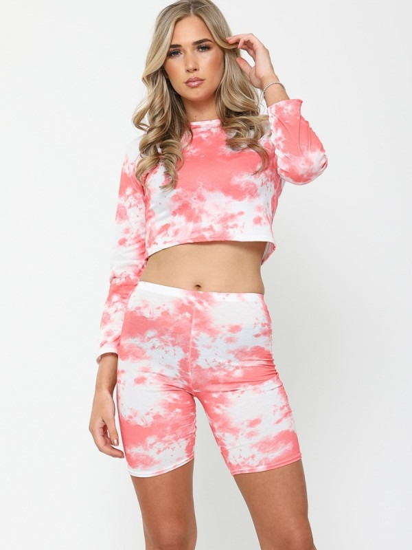 Tie-Dye Crop Top & Cycling Shorts Co-ord