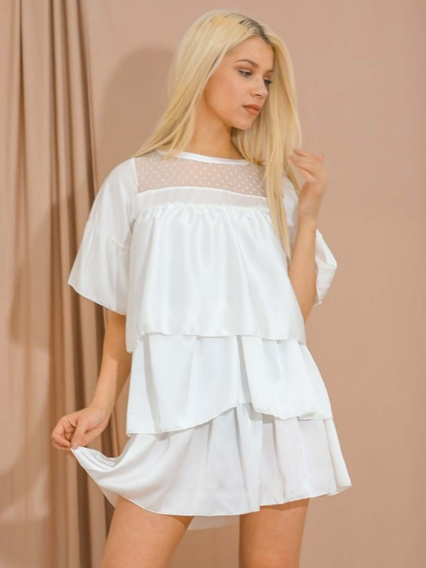 Mesh Insert Satin Frill Layered Tiered Dress