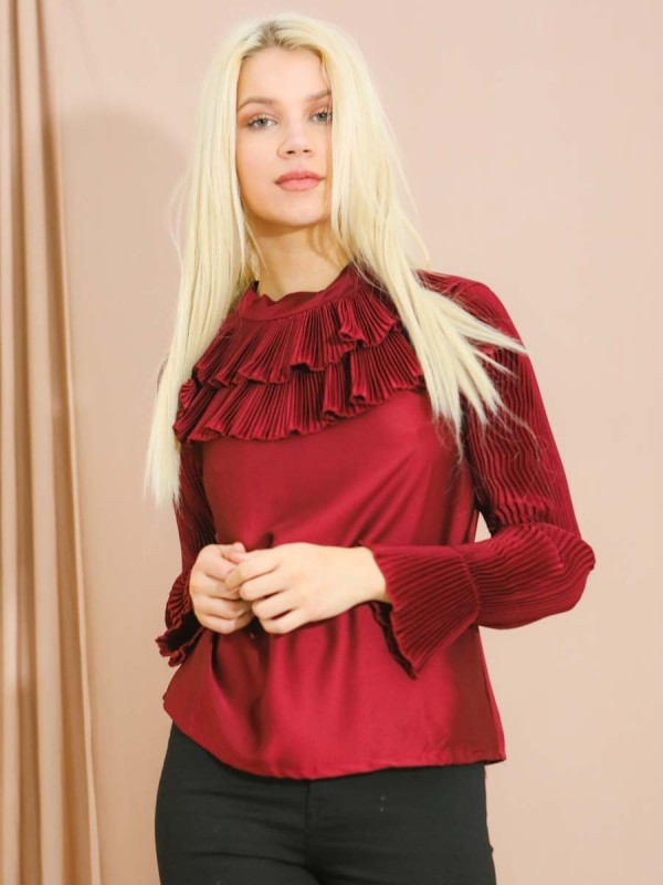 Satin Pleated Frill Neck & Sleeves Top