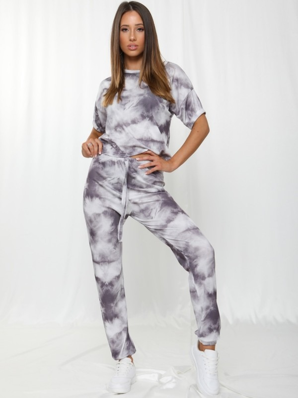 Tie-Dye Elasticated Sleeve Ribbed Boxy Co-ord