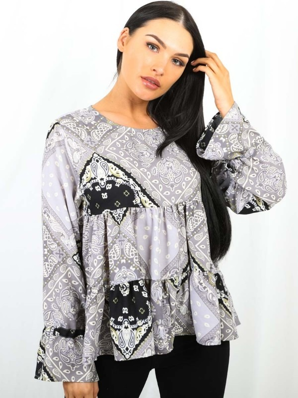 Paisley Print Frill Tiered Smock Top