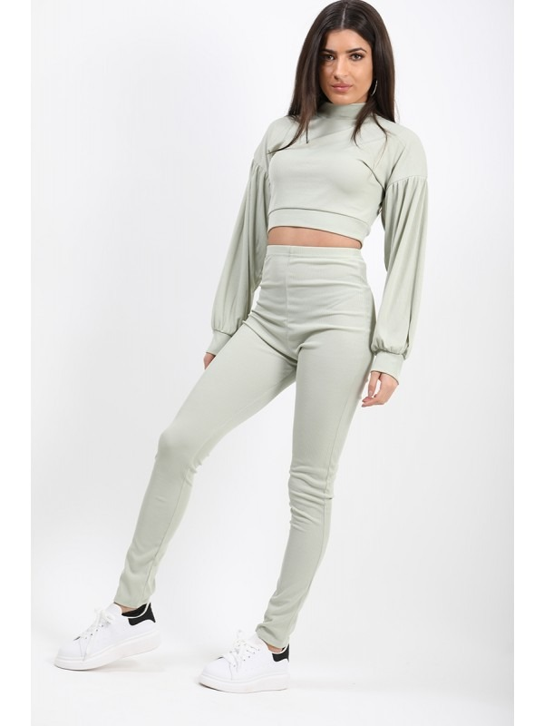 Ribbed Balloon Sleeve Top & Trouser Co-ord