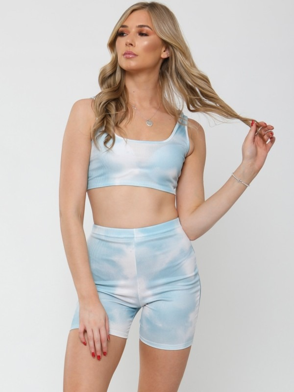 Tie-Dye Ribbed Bralet & Shorts Co-ord