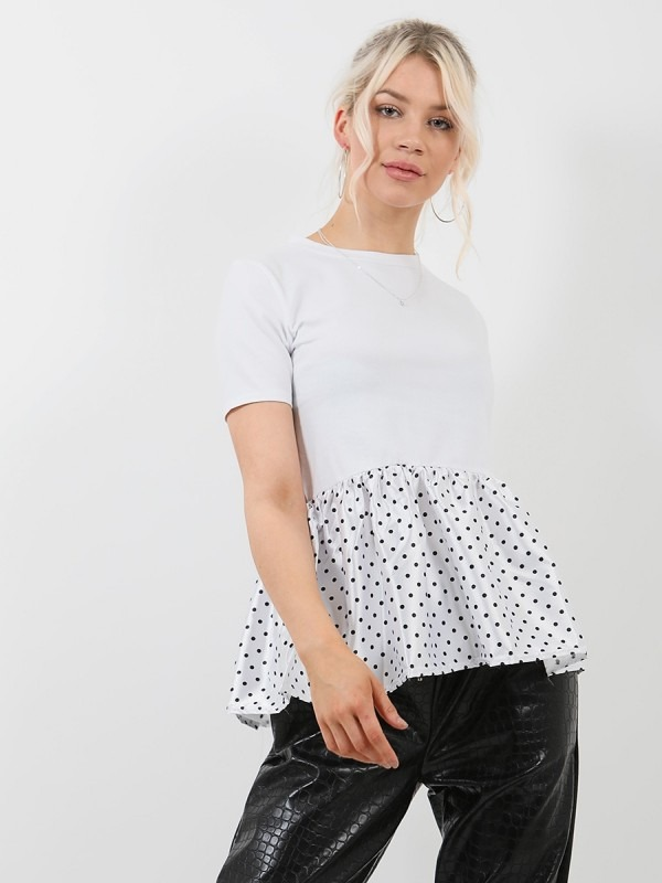 Polka Dot Print Satin Frill Hem Top
