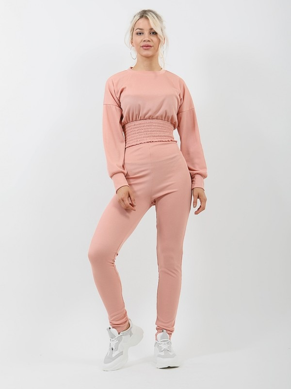 Shirred Hem Ribbed Top & Trouser Co-ord