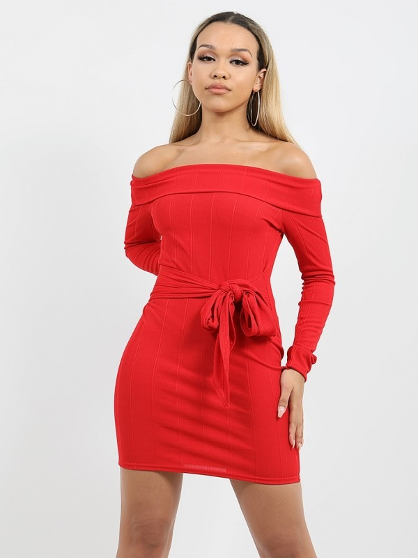 Ribbed Tie Knot Belted Bardot Dress