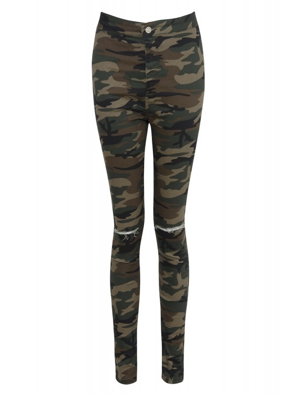Celeb Marnie Inspired Camo Print Knee Cut Denim Trouser