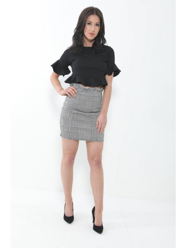 Frill Waist Checked Skirt