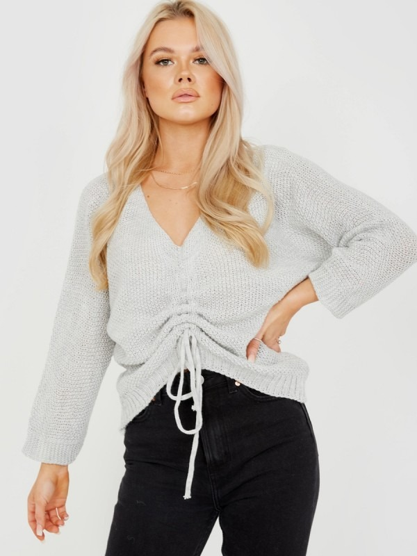Ruched Drawstring Front Knitted Top