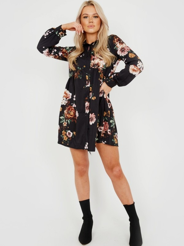 Oversized Floral Print Shirt Dress