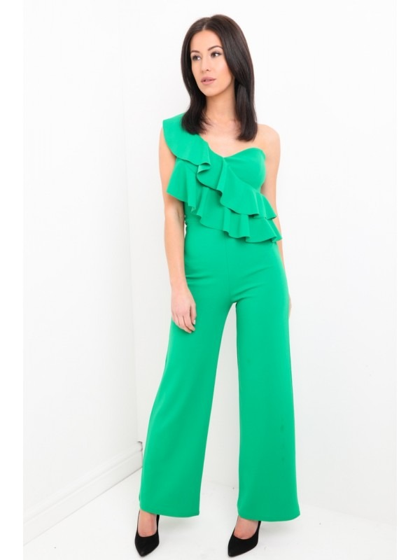 One Shoulder Ruffle Frill Jumpsuit