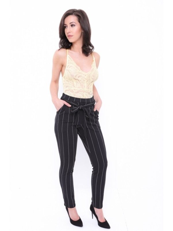 Thin Stripe Trousers With Tie Waist