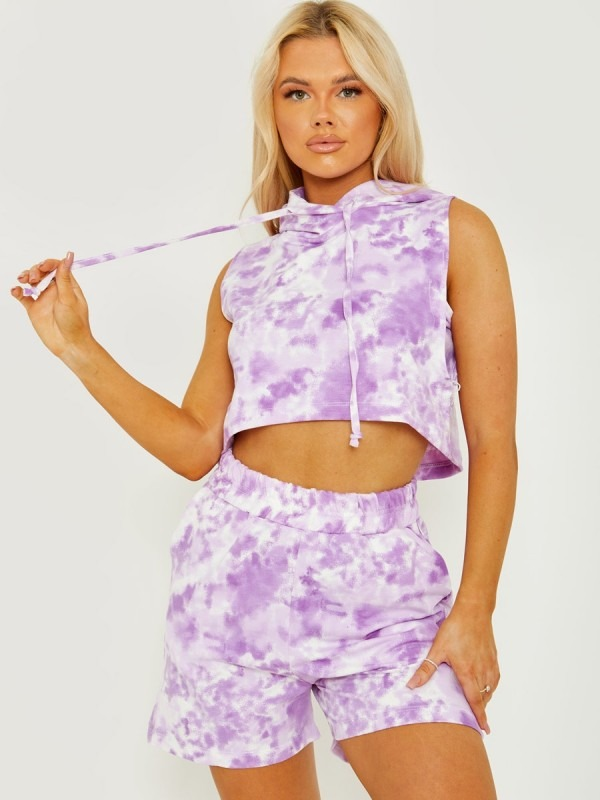 Sleeveless Tie-Dye Cropped Hoodie & Shorts Co-ord
