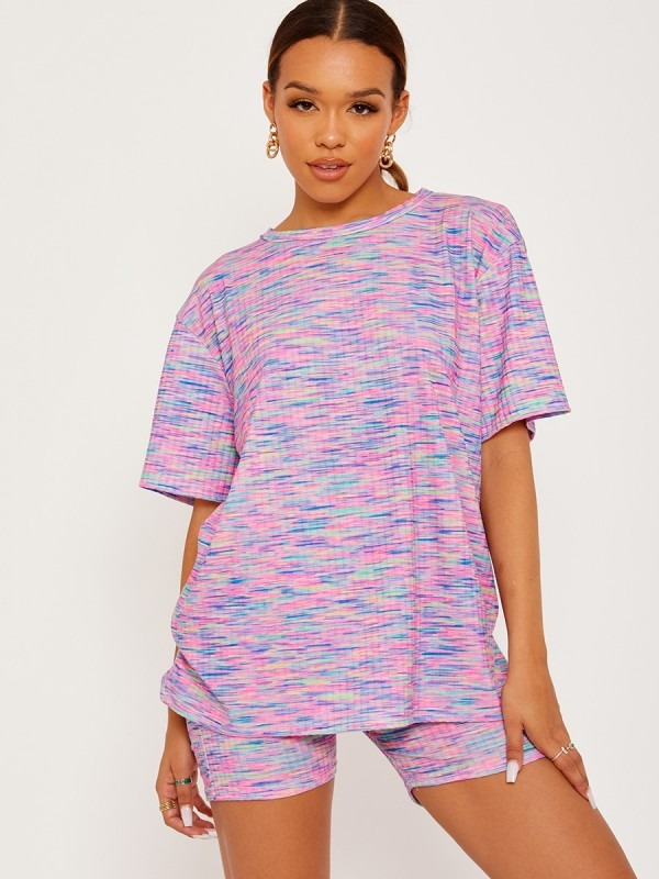 Multi Coloured Oversized Top & Shorts Co-ord