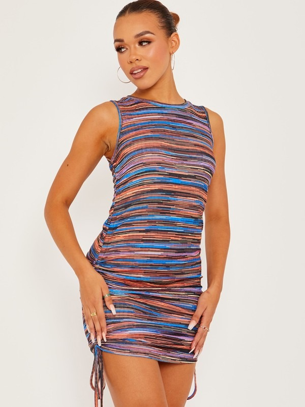 Multi Coloured Sleeveless Ruched Dress