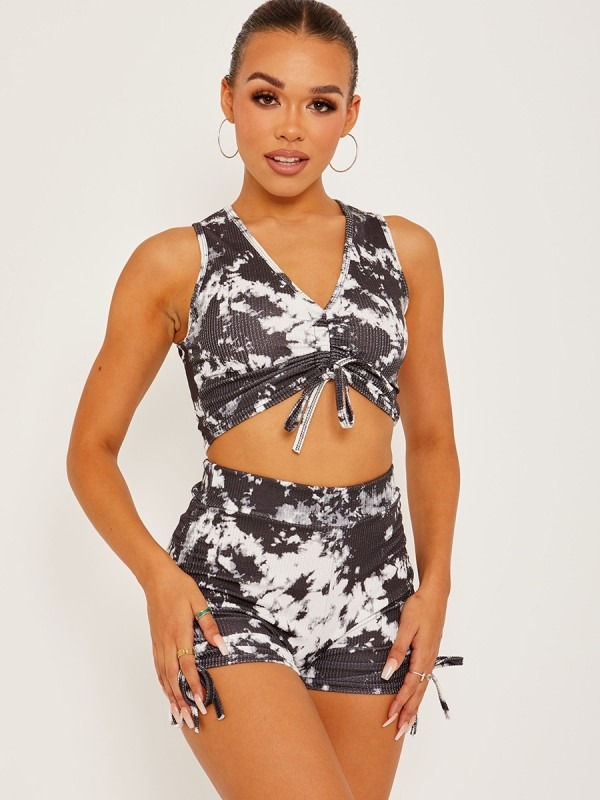 Tie-Dye Sleeveless Ruched Crop Top & Shorts Co-ord