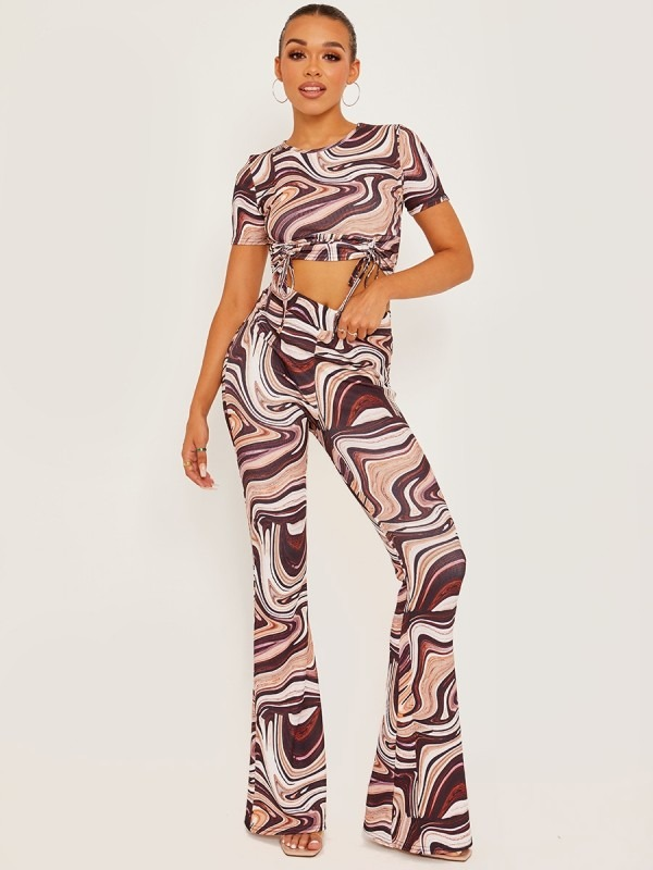 Marble Print Ribbed Flared Trousers