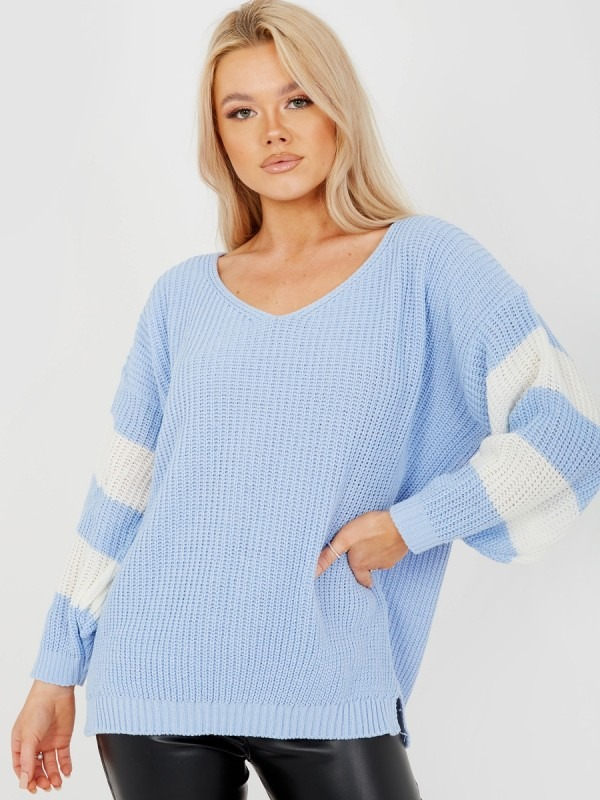 Contrast Stripe Sleeve Knitted Jumper