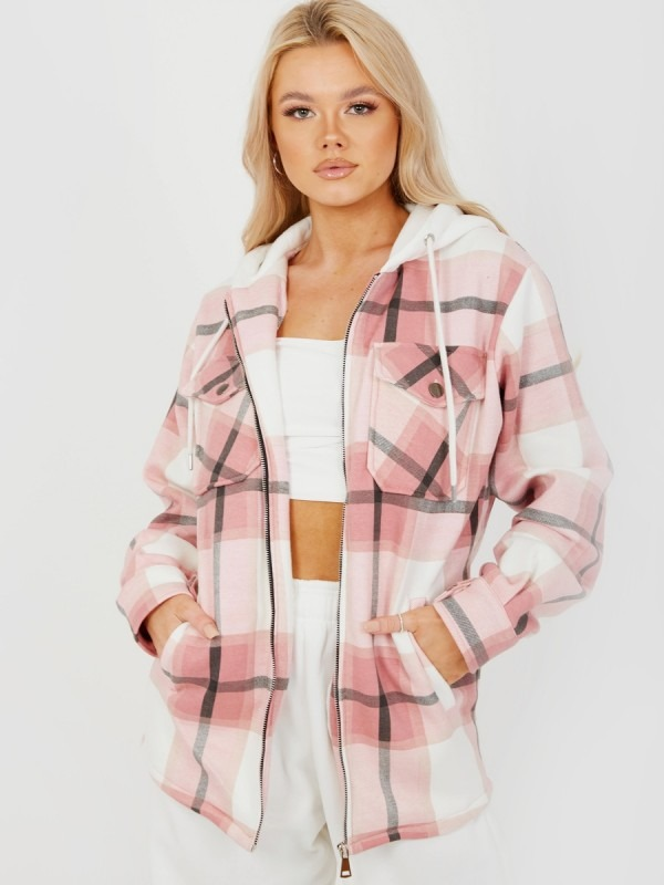 Thick Checked Shacket With Zip & Hood
