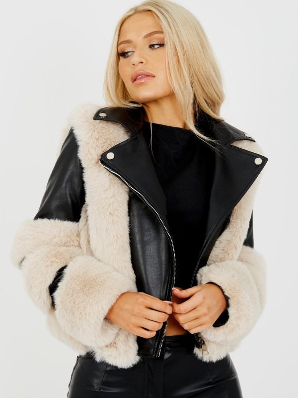 Faux Fur Trim PU Biker Jacket