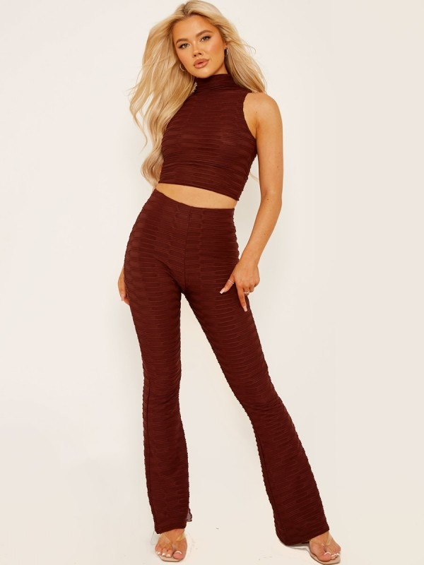 Pleated Jersey Crop Top & Flared Trouser Co-ord