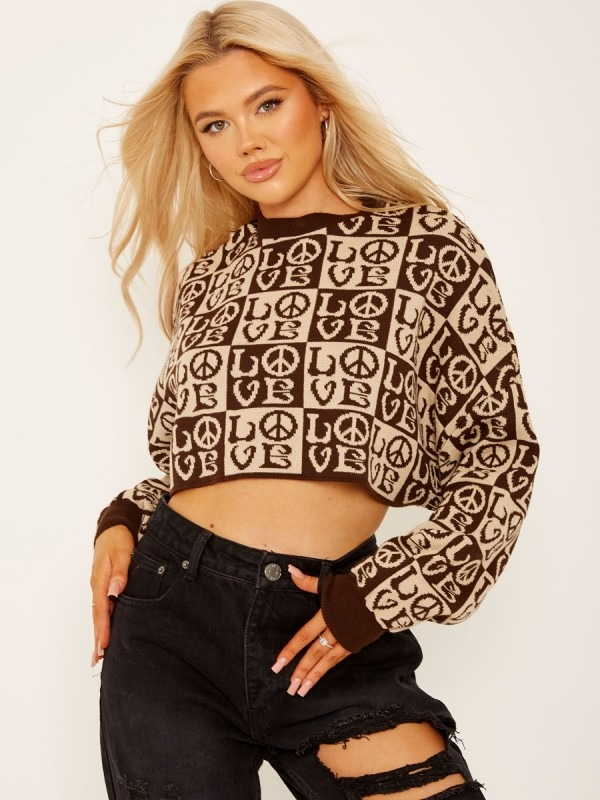 Oversized LOVE Cropped Knitted Jumper