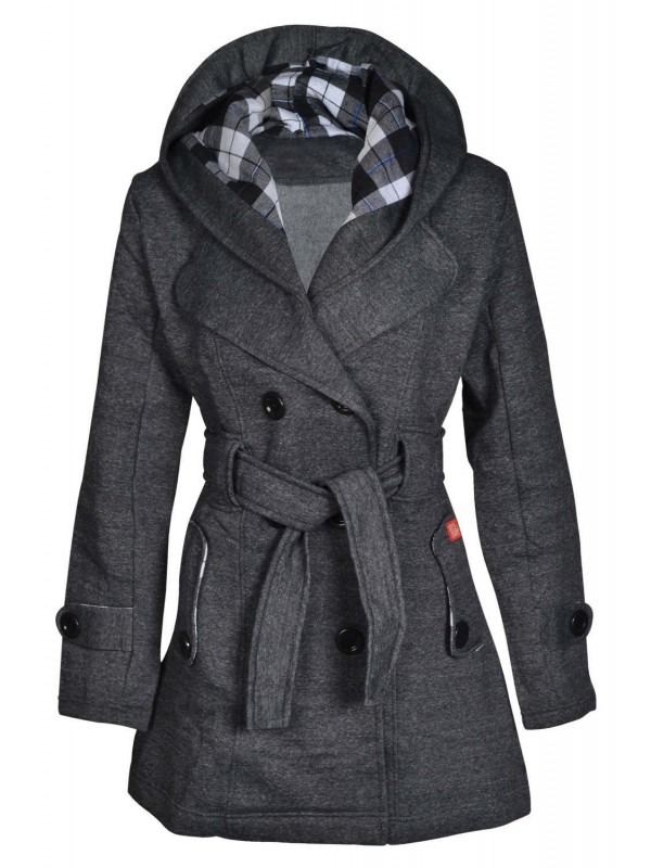 Plus Size Check Hood Belted Button Coat