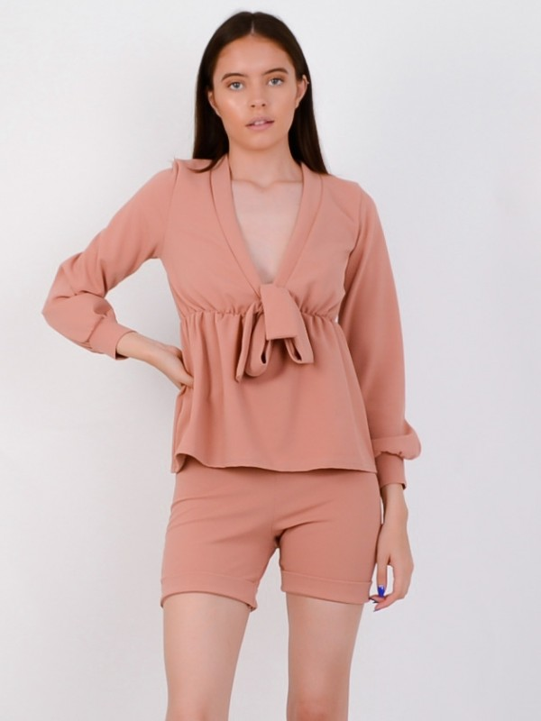 Plunge Neck Tie Knot Shorts & Top Co-ord