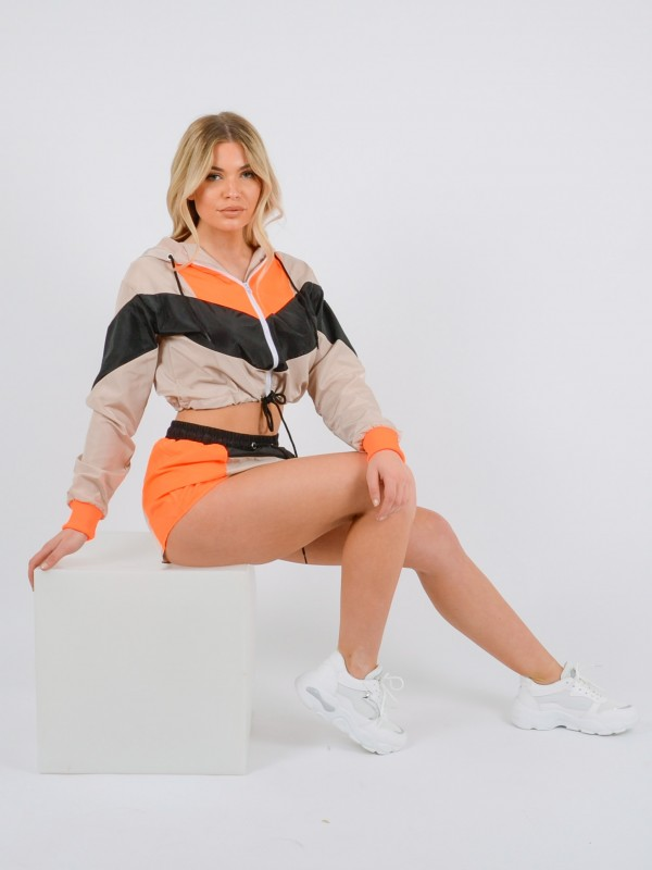 Colour Block Cropped Jacket & Shorts Co-ord