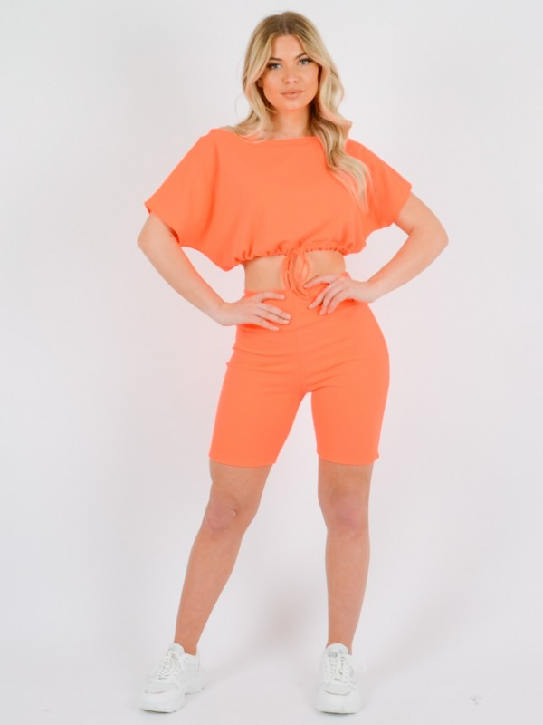 Drawstring Crop Top & Shorts Co-ord