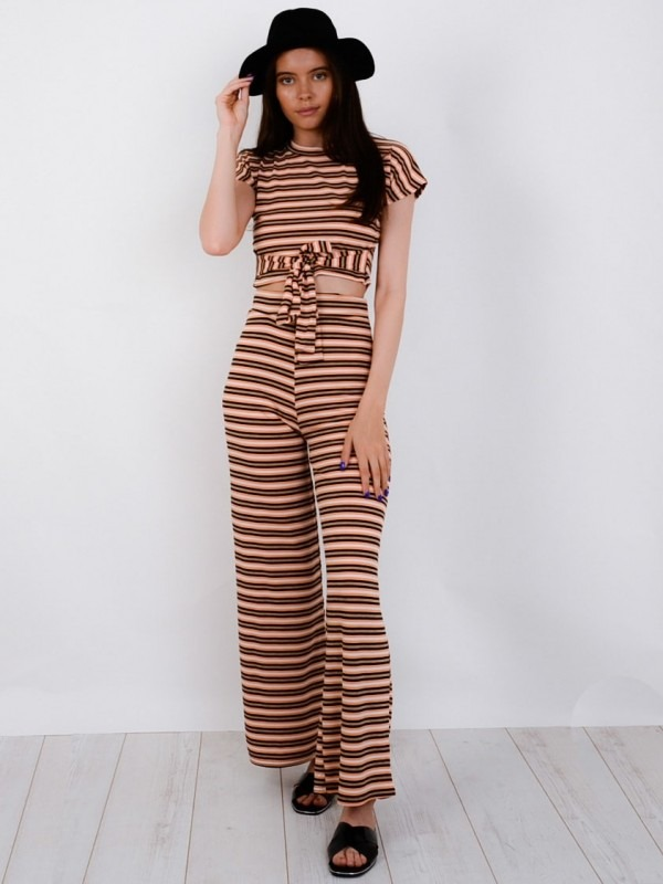 Striped Ribbed Crop Top & Trouser Co-ord