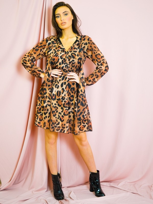 Leopard Neck Tie Smock Dress