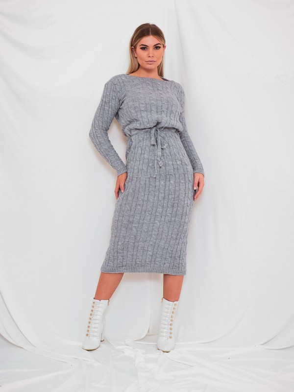 Cable Knit Drawstring Waist Dress