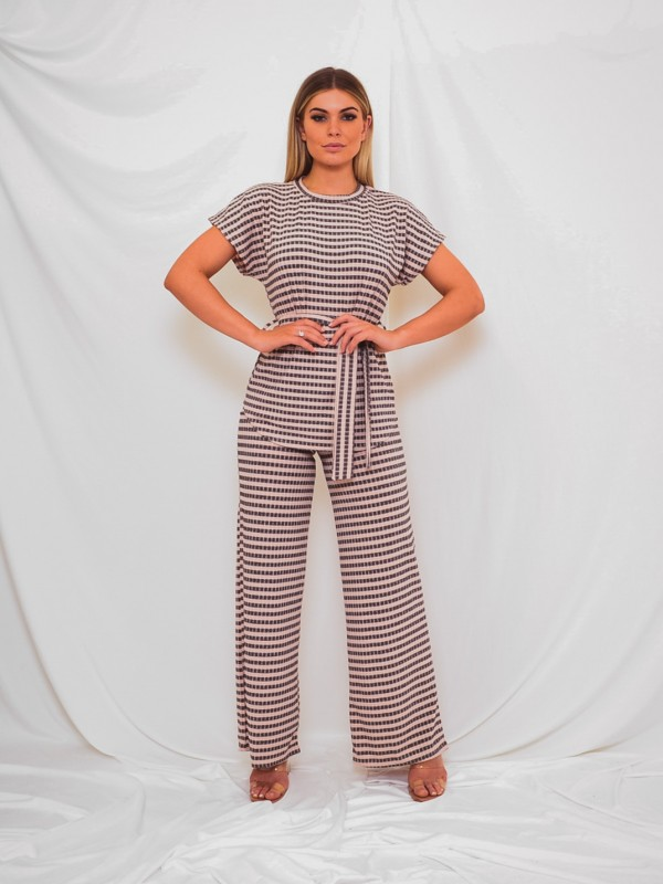 Striped Ribbed Belted Top & Trouser Co-ord